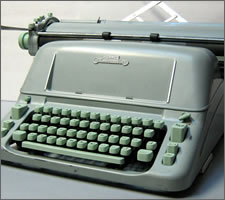 A manual Hermes Ambassador typewriter from the 1960s.