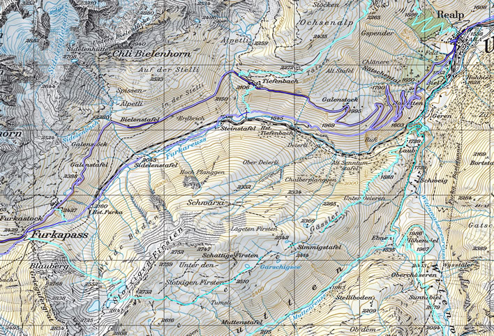 Map of the stretch from the Furka Pass summit to Realp