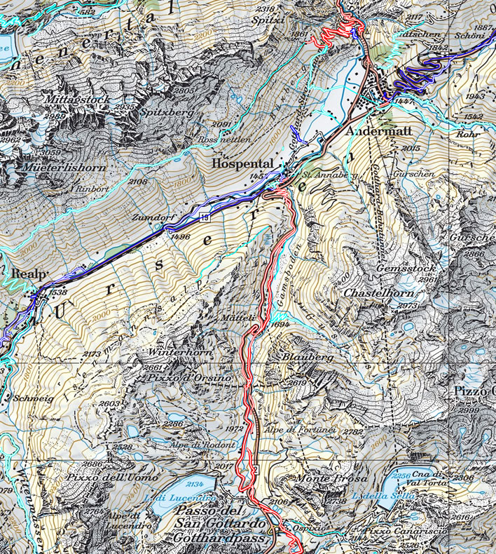 Map of the route along the Urserental from Realp (middle-left) to Hospental (middle)