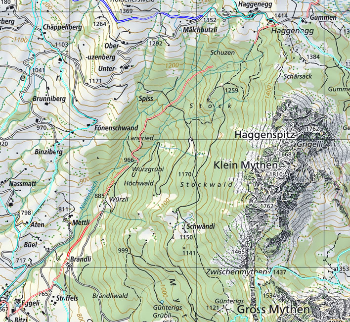 Map of the descent from Haggenegg to Schwyz