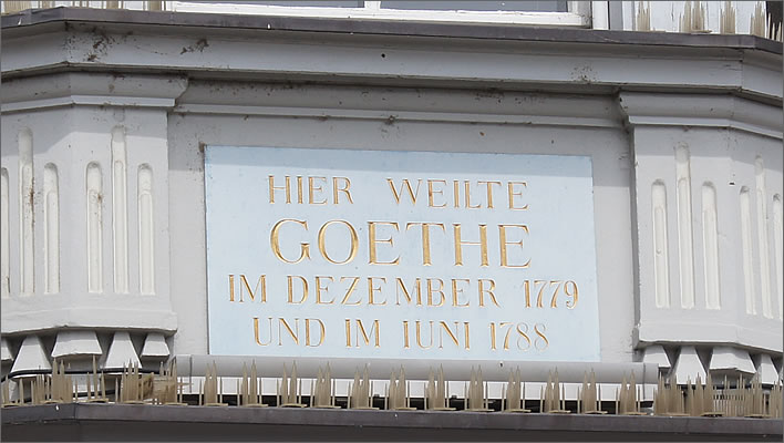 The plaque commemorating Goethe's visits to the Haus zum Goldenen Adler in Konstanz