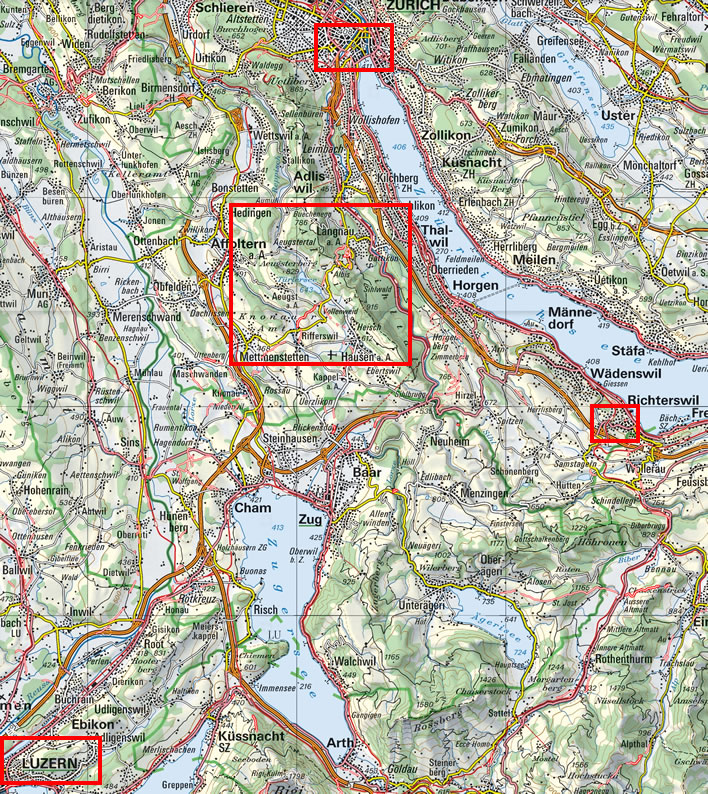 Map of the route between Luzern and Zurich