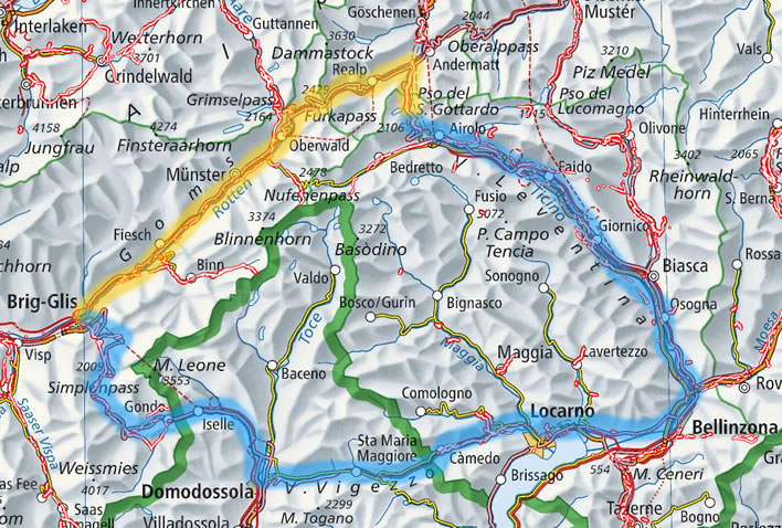 Map of the two ways to the Gotthard Pass from the west
