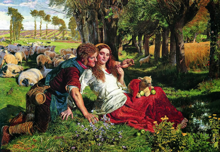 William Holman Hunt, 'The Hireling Shepherd' (1851).