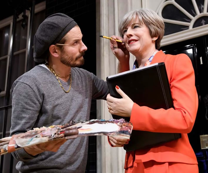 Studios Artist Chris Garguilo adds the finishing touches to the Theresa May wax figure.