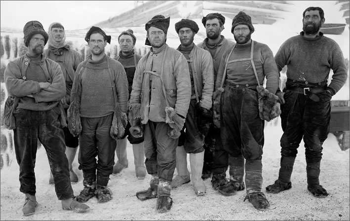 Terra Nova expedition: Captain Scott and other expedition members pose at camp after returning from the depot-laying expedition.
