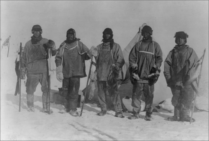 Terra Nova expedition: Evans, Scott, Oates, Wilson and Bowers at their camp at the South Pole.