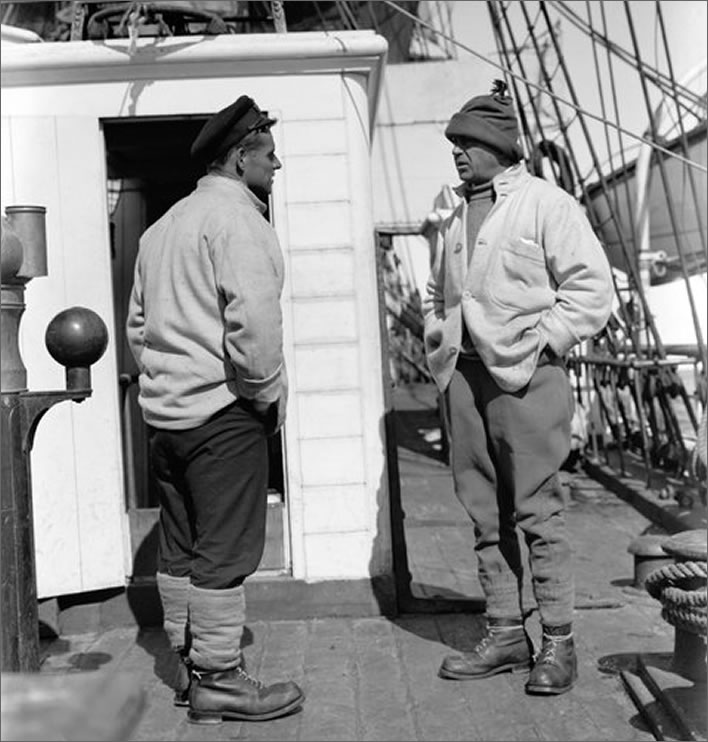 Terra Nova expedition: Lieutenant Evans and Captain Scott on the deck of the Terra Nova.