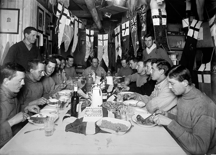 Terra Nova expedition: Captain Scott's birthday dinner.