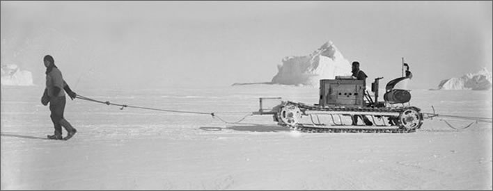 Terra Nova expedition: Teddy Evans and Bernard Day with a motor tractor.