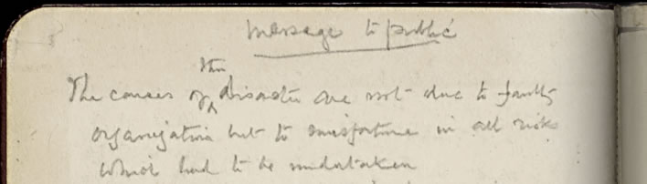 'Message to Public'. Diaries of Robert Falcon Scott, p 168 (facsimile).