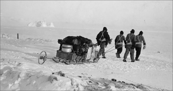 Terra Nova expedition: A four man sledge team manhauling.