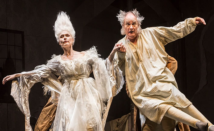 The Ghost of Christmas Past (Amelia Bullmore) and Scrooge (Jim Broadbent) in a 2015 production of A Christmas Carol.