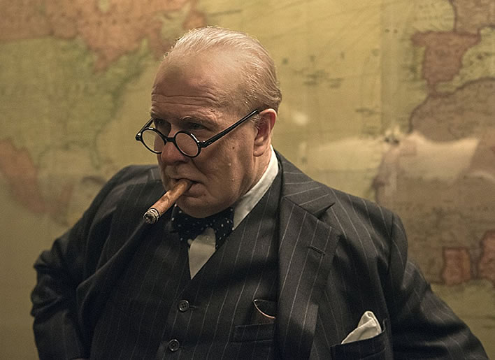 'Darkest Hour', 2017: Churchill (Gary Oldman) in the Cabinet War Rooms.