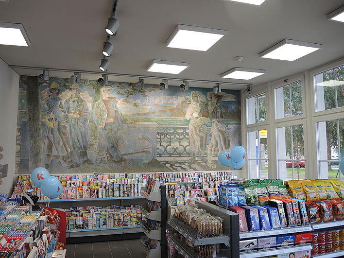 Heinrich Danioth's mural 'Föhnwacht' located in a station kiosk.