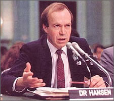 Dr James Hanson telling the US Congress in 1988: 'Hand over the cash or the planet gets it.'