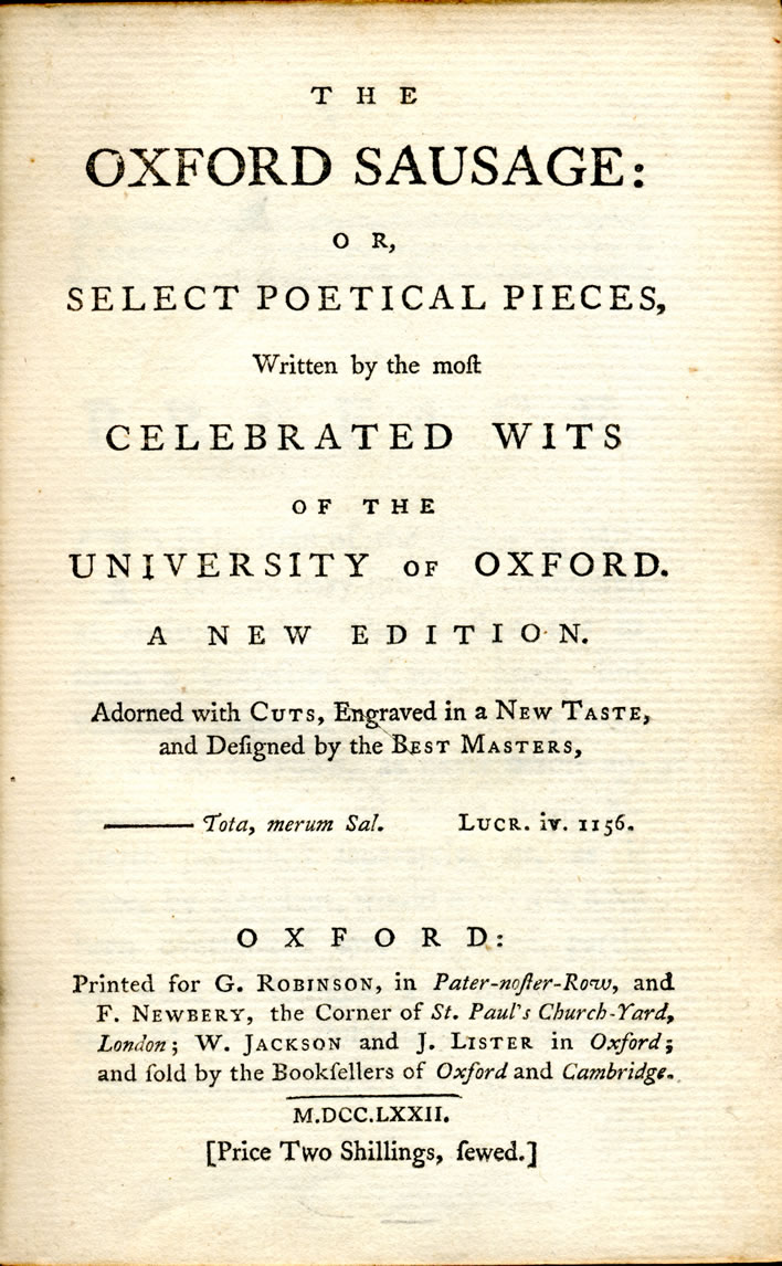 From the 'Oxford Sausage': title page.