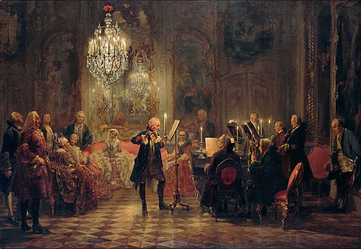 Adolph Menzel, Flute Concert with Frederick the Great in Sanssouci, 1850-52