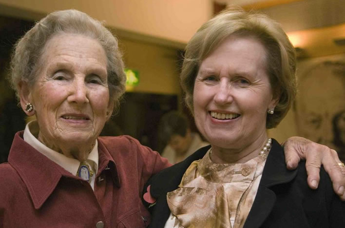 Former Churchill secretaries Elizabeth Layton-Nel (1941-1945) and Lady Williams, the former Jane Portal (1949-1955), at a reunion in 2006.
