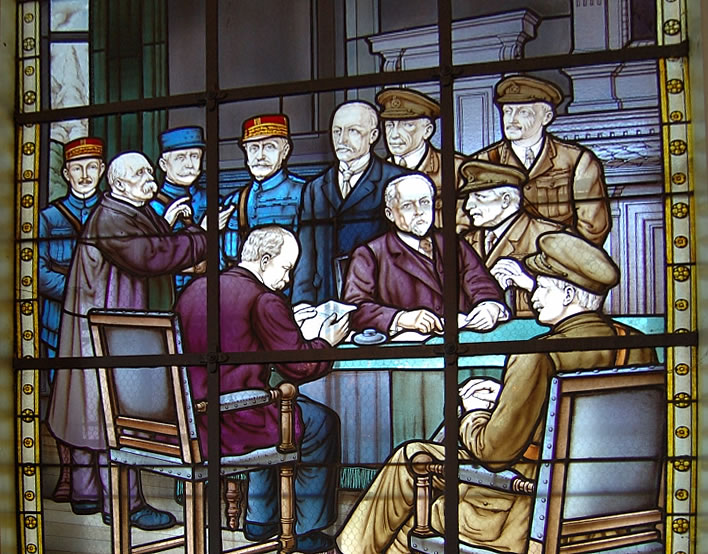 Stained glass representation of the participants of the Doullens Conference 1918