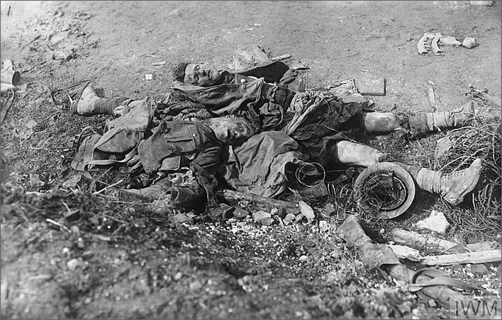 Dead Scottish soldiers on the battlefield near Longueval, March 1918