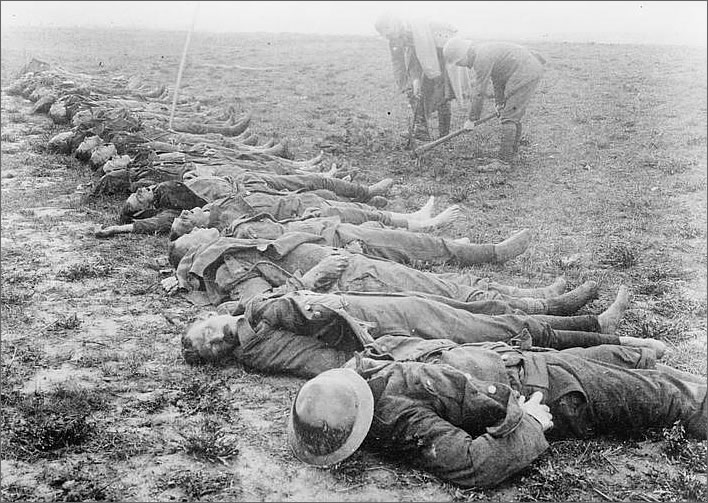 British dead being prepared for burial, April 1918