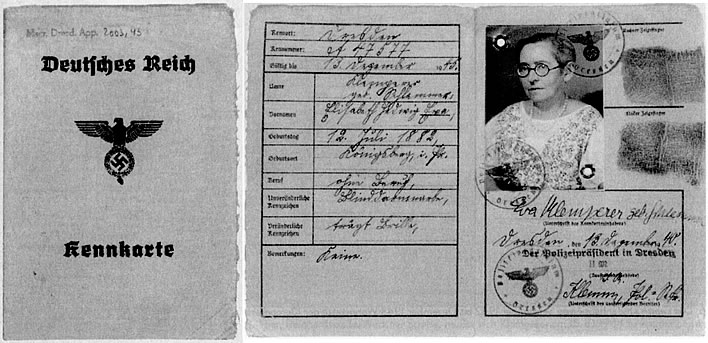Eva Klemperer's ID card from the 1940s