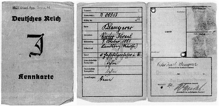 Victor Klemperer's ID card from the 1940s
