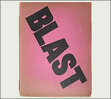 The puce and black cover of 'Blast', issue 1, 20 June 1914.
