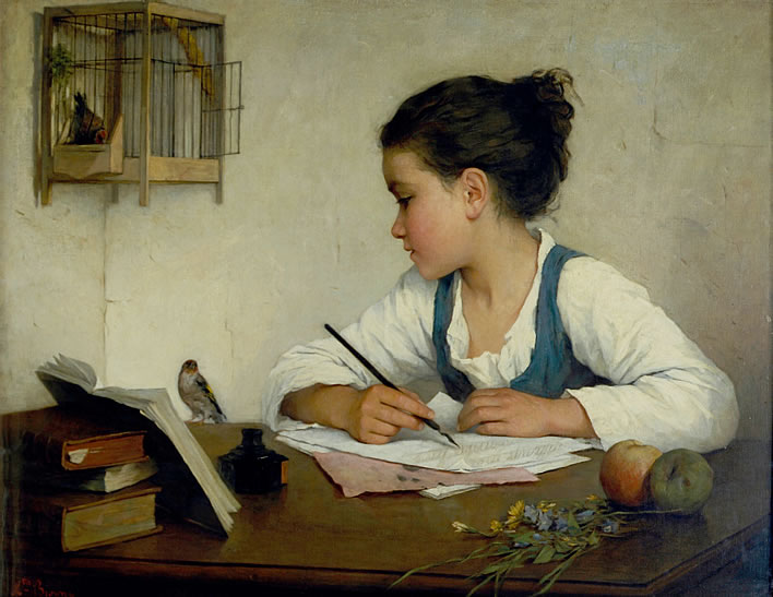 Henriette Browne, 'A Girl Writing', c. 1870