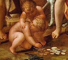 Games of chance: Il Sodoma, Le Tre Parche, c1525, (detail)