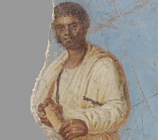 'Man with scroll (NOT Catullus)' – wall painting from the Museo Archeologico di Sirmione