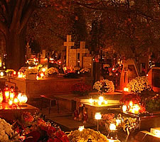 All Souls' Day in a Polish cemetery.