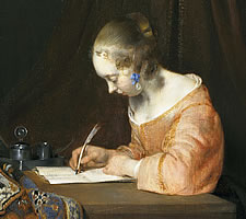 Gerard ter Borch, A Woman Writing a Letter, c1655 (detail).