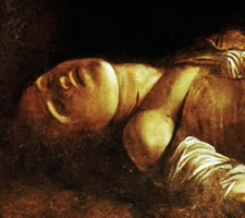 Caravaggio (1571–1610), The Burial of Saint Lucy, c.1608 (detail).