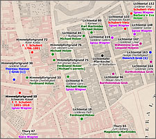 Residences of the Schubert, Wagner, Holzer and Grob families 1785~1820.