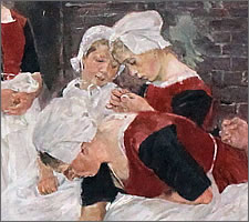 Max Liebermann, Free time in the Amsterdam orphanage, 1881 (detail).