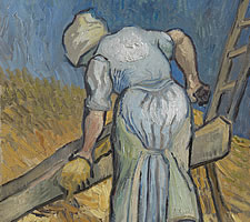 Vincent van Gogh, 'Peasant Woman Bruising Flax (after Millet)', 1889 (detail).