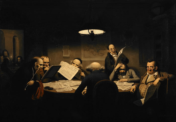 Johann Peter Hasenclever, The Reading Room, 1843